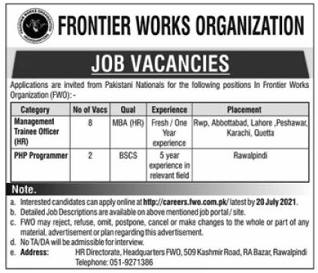 Frontier Works Organization FWO Jobs 2021 – Careers.fwo.com.pk