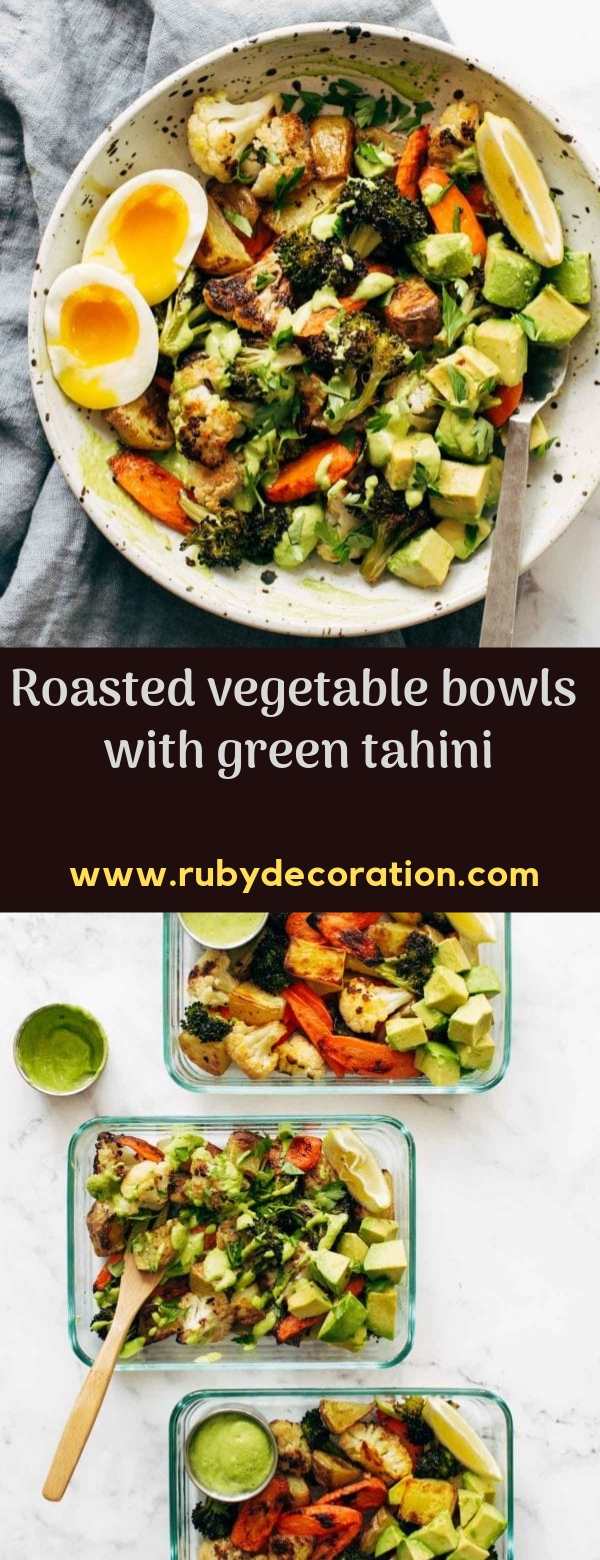 Roasted vegetable bowls with green tahini