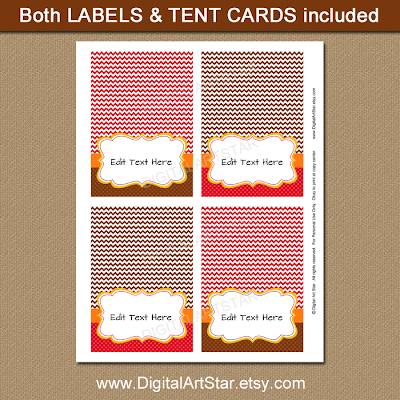 printable editable Thanksgiving table tents in red and brown