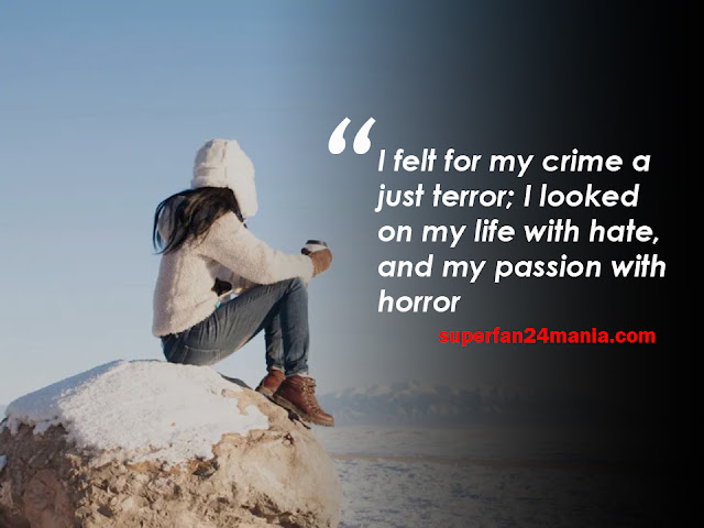 I felt for my crime a just terror; I looked on my life with hate, and my passion with horror.