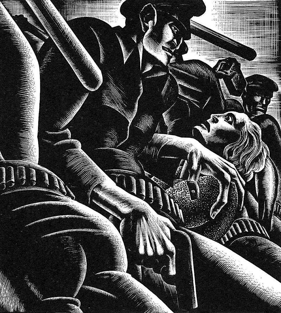 a Lynd Ward 1932 illustration of oppression of the free public, police brutality