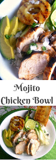 Juicy mojito marinated chicken, grilled pineapple and bok choy served over a mint, coconut and pineapple flavored rice.  It's the tropics in a bowl! - Slice of Southern