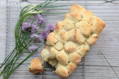 Garlic Scapes and Chive Flower Pull-Apart Bread