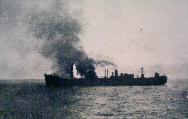 British freighter Empire Purcell sinking 27 May 1942 worldwartwo.filminspector.com