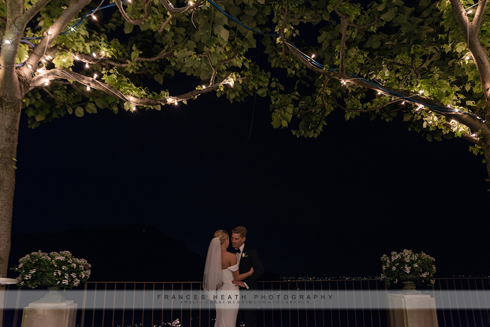 Night portrait of bride and groom at Villa Eva
