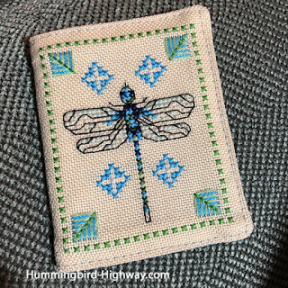 dragonfly needle case, cross stitched