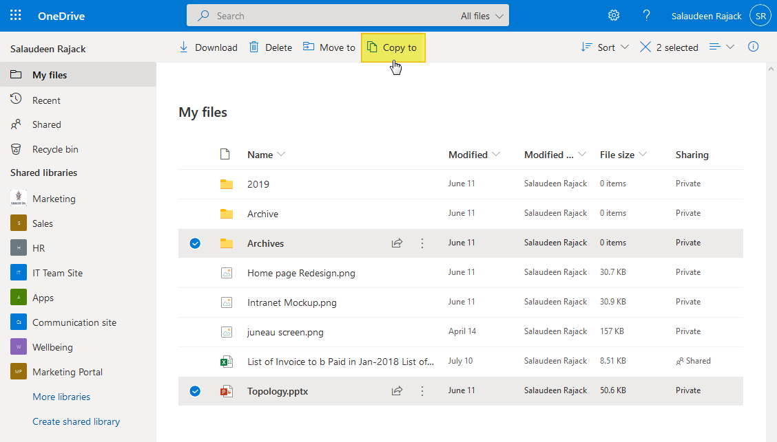 copy files from onedrive to sharepoint online
