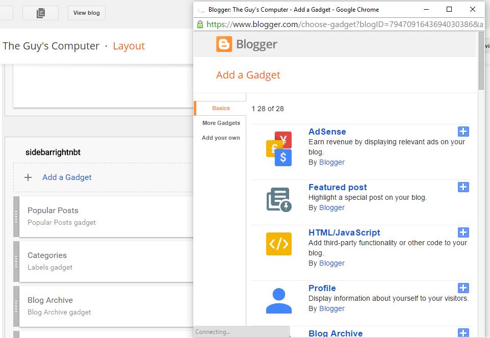 widgets for blogger