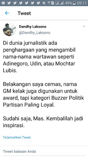 Wartawan Senior: Goenawan Mohamad Jadi Nama Award Kategoro Buzzer Politik Partisan Paling Loyal