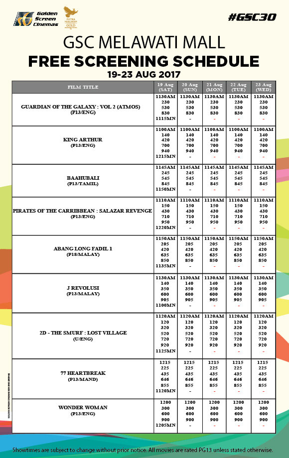 Gsc Cinema Free Screening Print Voucher To Redeem Movie Tickets Melawati Mall 19 23 August 2017