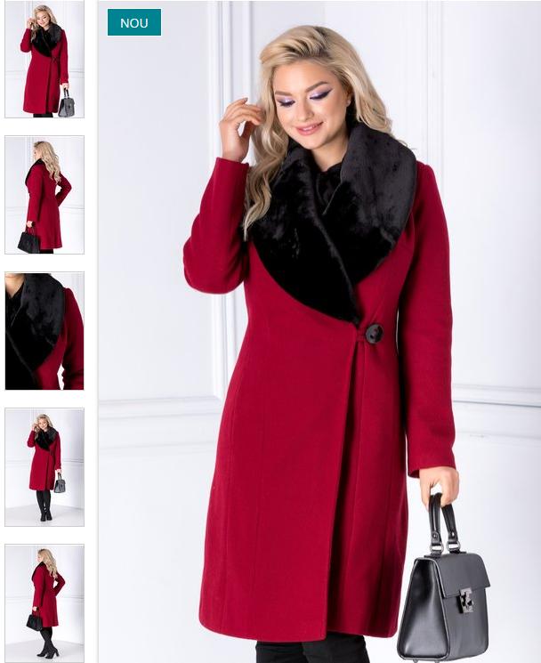 Palton elegant rosu de femei lung cu blanita petrecut modern