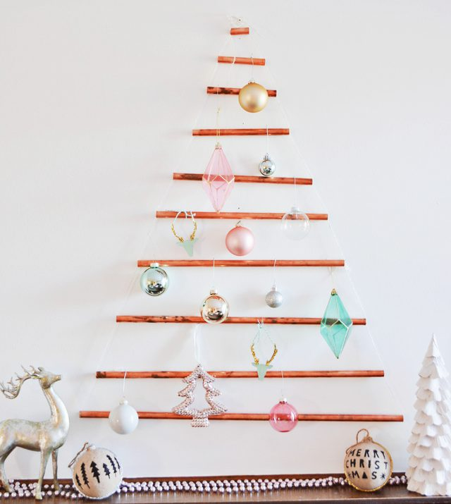 Diy modern wall mounted copper pipe christmas tree do it yourself as a bonus you can still use all of your tree ornaments to adorn your new tree solutioingenieria Image collections