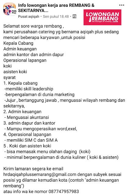Lima Lowongan Kerja Catering Aqiqah Plus Semarang Rembang
