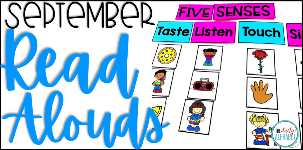 Created engaged learners with these read alouds for September! Your students will learn all about apples, the five senses, transportation and community helpers!