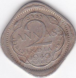 2 annas india 1940 coin value