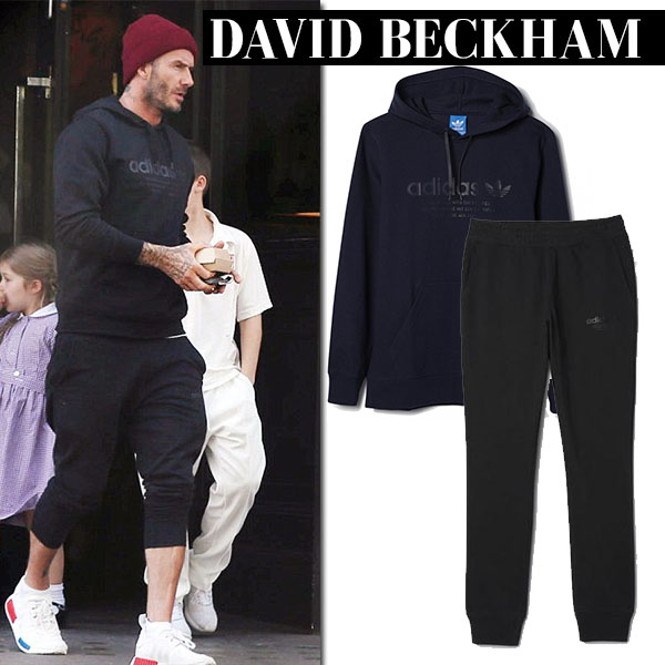 David Beckham in black adidas prime hoodie, black sweatpants and white adidas nmd primeknit sneakers casual sport style
