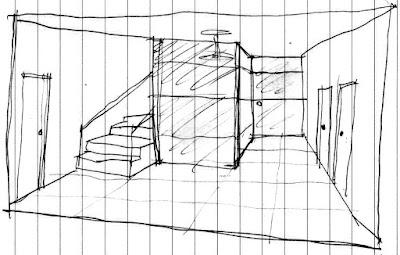 Croqui do arquiteto Jean Tosetto a respeito da recepção do empreendimento, desenhado durante uma reunião para desenvolvimento do projeto.