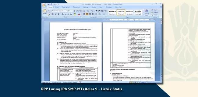 Contoh RPP Luring IPA SMP-MTs Kelas 9 - Listrik Statis