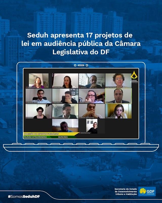 Seduh apresentará 17 projetos à Câmara Legislativa até 2022