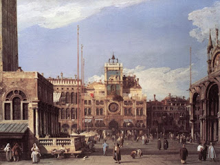 A Canaletto painting of St Mark's Square looking towards the clock tower on the northern side