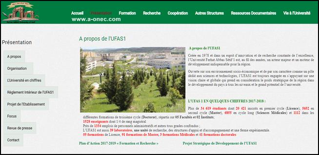Le site officiel de l'Université Ferhat Abbas Sétif 1