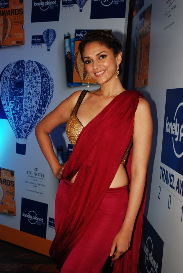 Actress Aditi Rao Hydari in red color saree