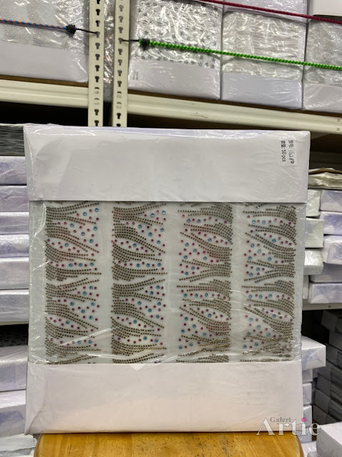 Pelekat hotfix sticker rhinestone DMC aplikasi tudung bawal fabrik pakaian corak daun panjang
