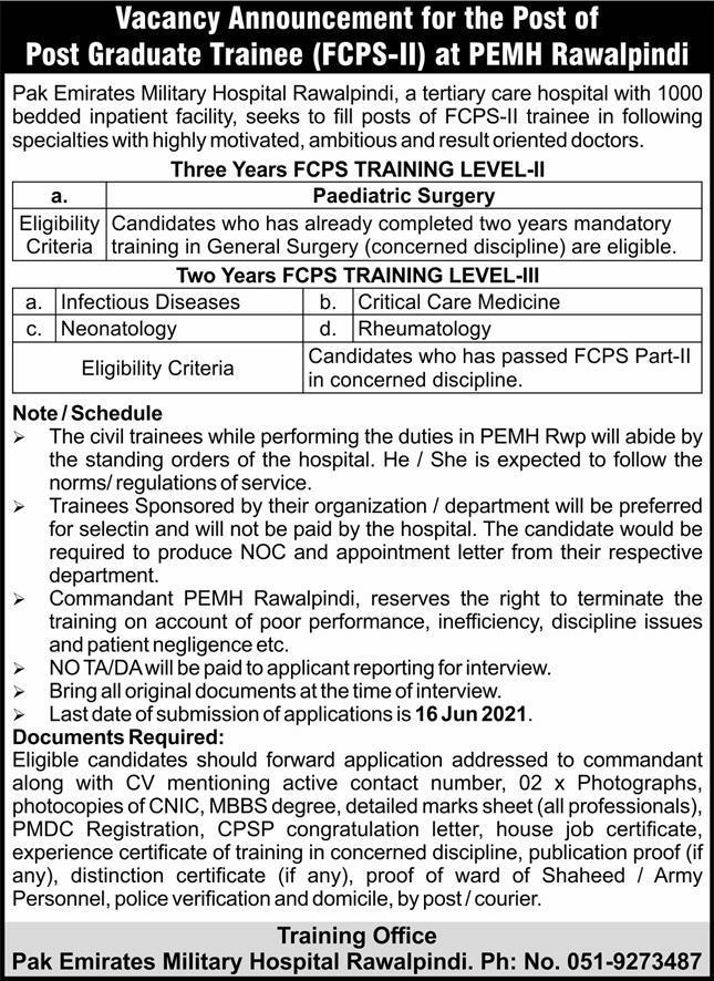 Pak Emirates Military Hospital PEMH Jobs 2021 in Pakistan