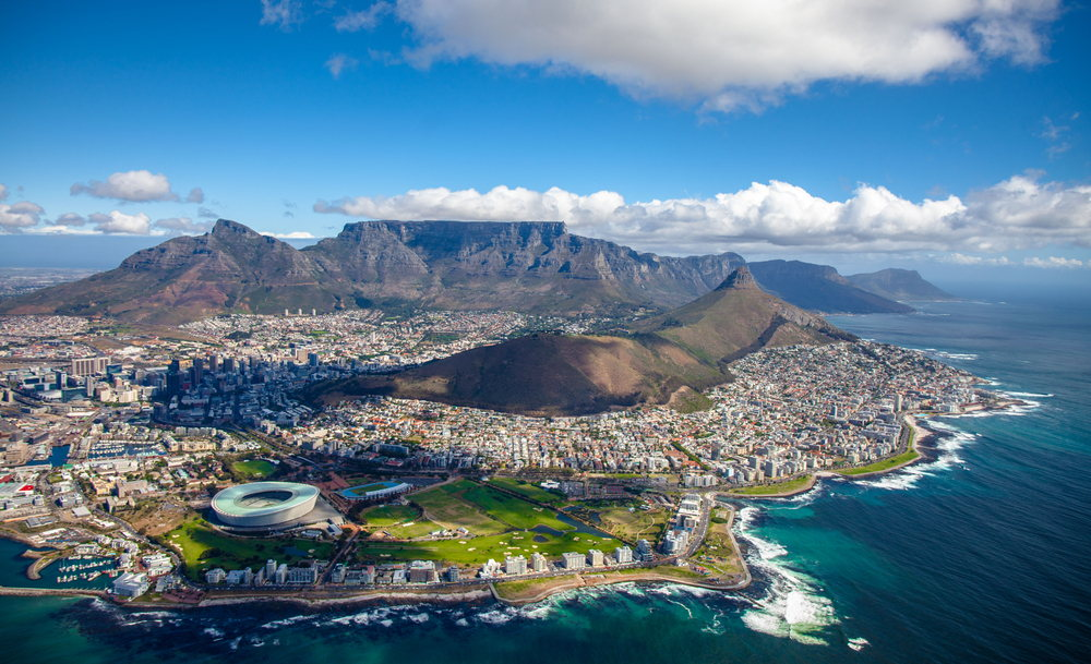 view of Cape Town city centre, with Table Mountain