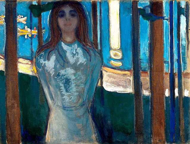 an 1896 Edvard Munch painting of a smiling blue woman among trees at a lake