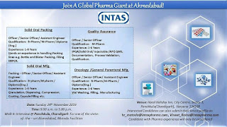 Intas Pharma job 2019