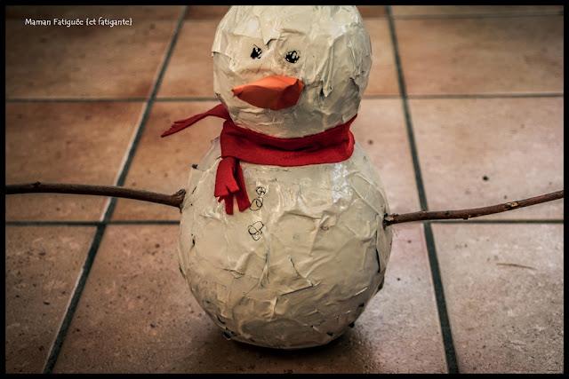 bonhomme neige papier maché