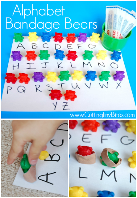 alphabet learning games alphabet bandage bears what can we do with paper and glue 1035