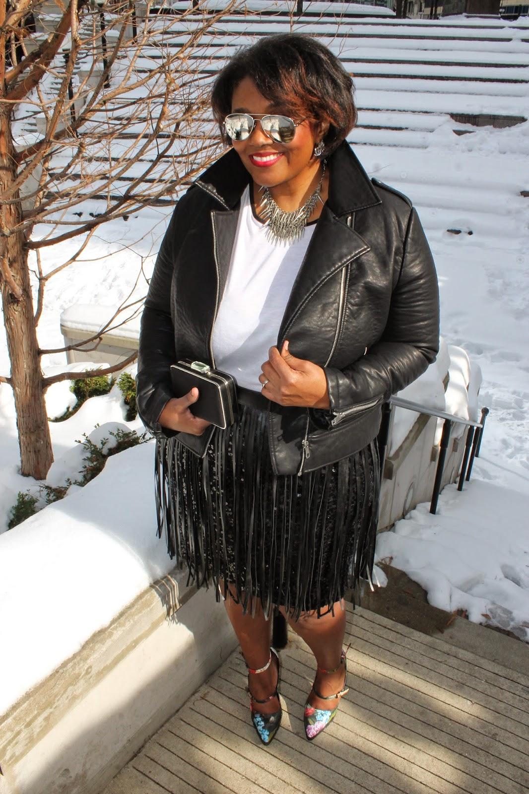 Rocker Chic Valentines Day Style Sequin Skirt Fringe Floral Pumps