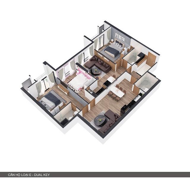 Phối cảnh 3D căn hộ loại E 2 trong 1 có 2+1 phòng ngủ + 2 bếp