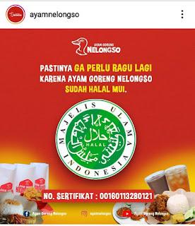 Ayam Goreng Nelongso sudah Halal MUI