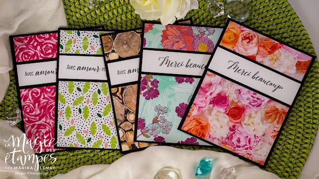 Cartes Stampin' Up! confectionnées à l'aide du papier design