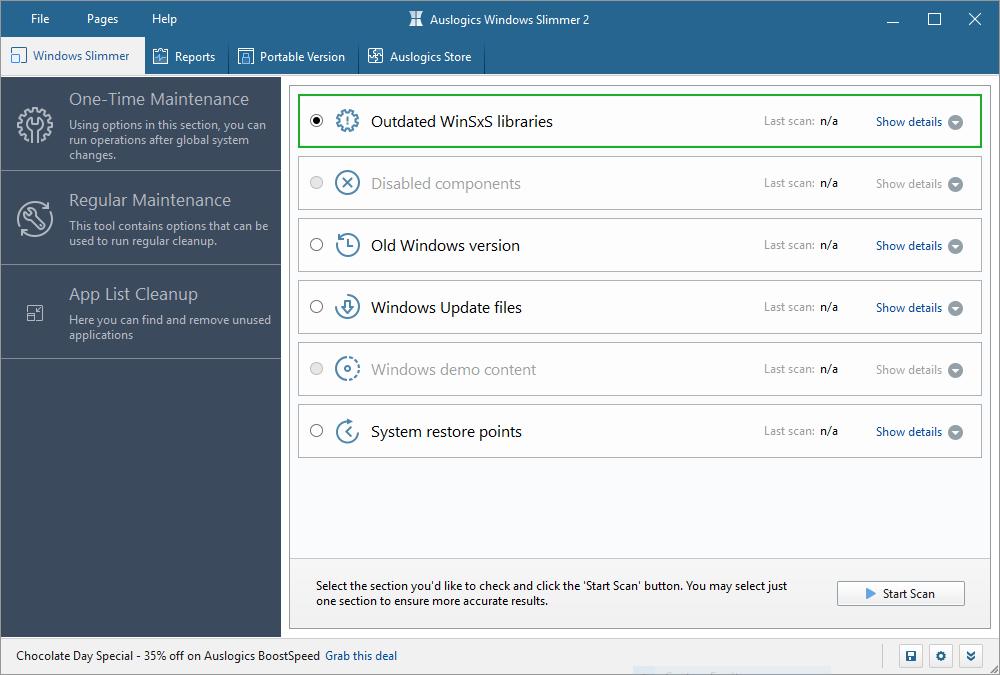 تحميل برنامج عملاق في التظيف وتسريع وإزالة البرامج من جذورها Auslogics Windows Slimmer Professional 2.1.0