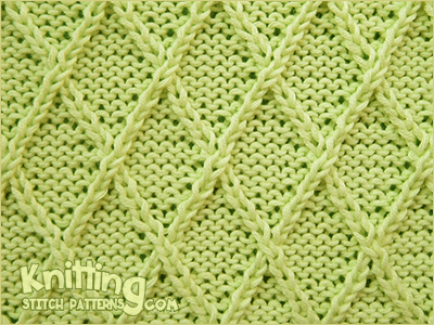 Diamond Lattice stitch - It is a bit time-consuming to created a diamond pattern, but is interesting to knit. Great for sweaters.