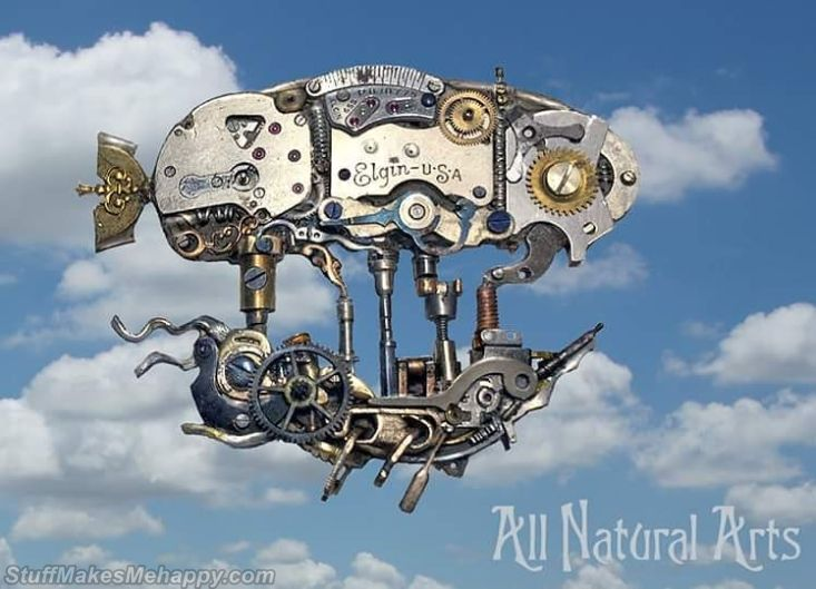 Sculptures Made From Old Pocket Watch Parts