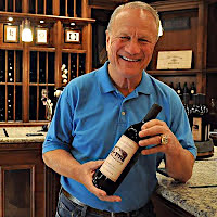 Coach Switzer at the Napa Tasting Room in Oakville, Napa, California with his red wine selections and tasting.