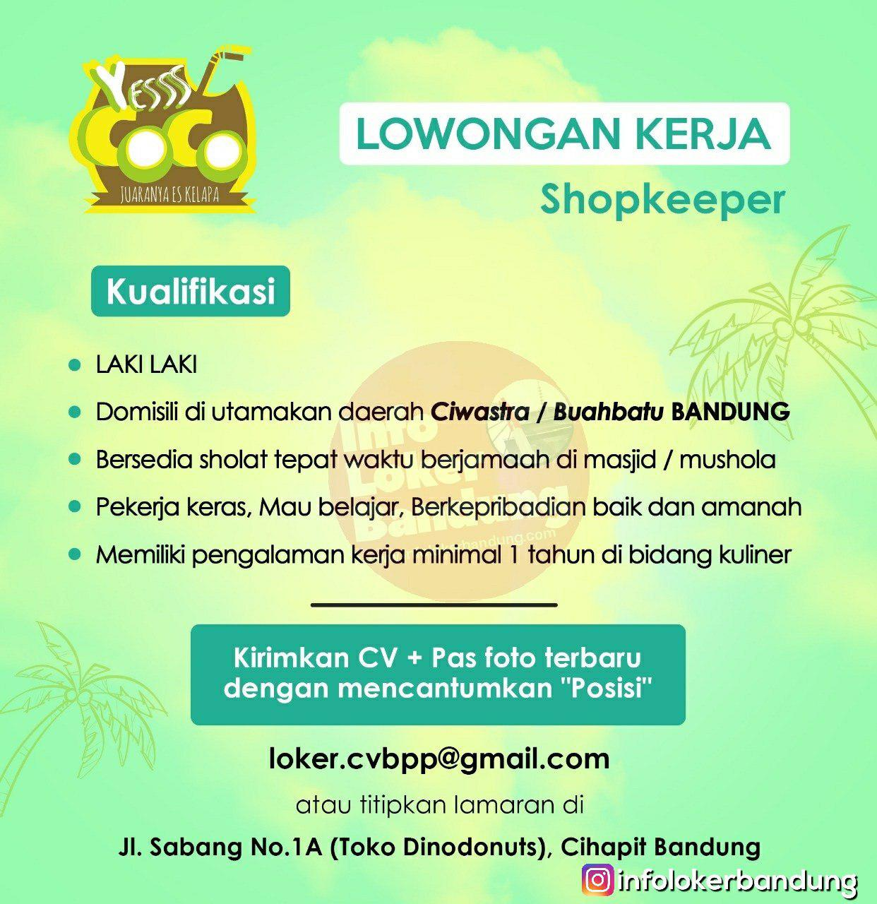 Lowongan Kerja Shopkeeper Es Coco Bandung Januari 2019