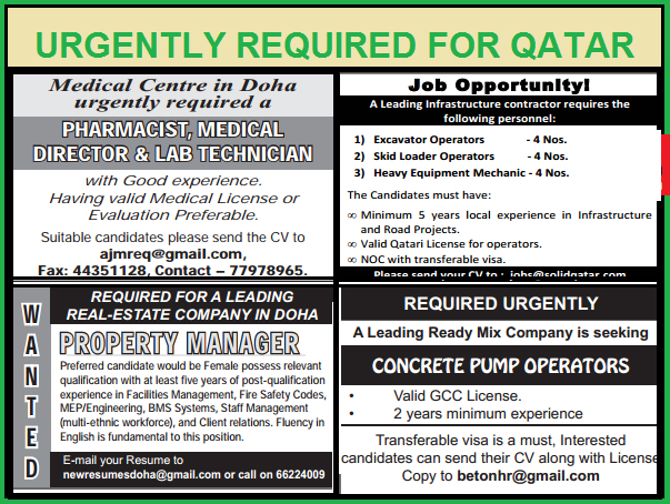 Urgent Job Vacancies In Qatar - Jobhunferfb