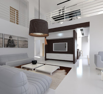 White living room interior design with modern decoration