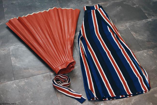 ファッションブログ、newin from dresslily,ブラウンフェイクレザープリーツミディスカート、カラフルストライプスリット入りワイドパンツ