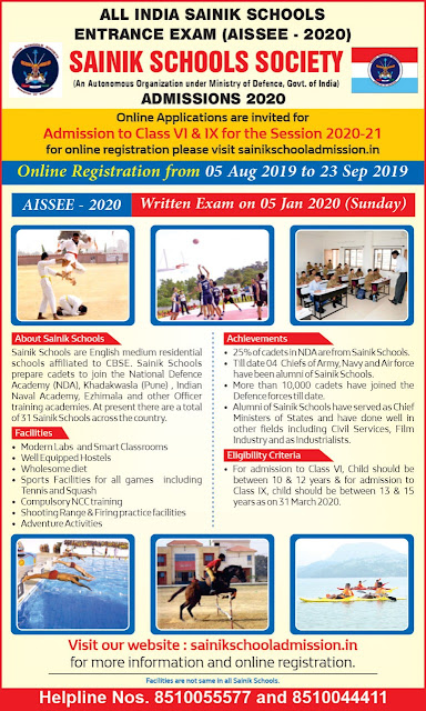 AISSEE Admissions - Application Form, Admit Card and Merit List