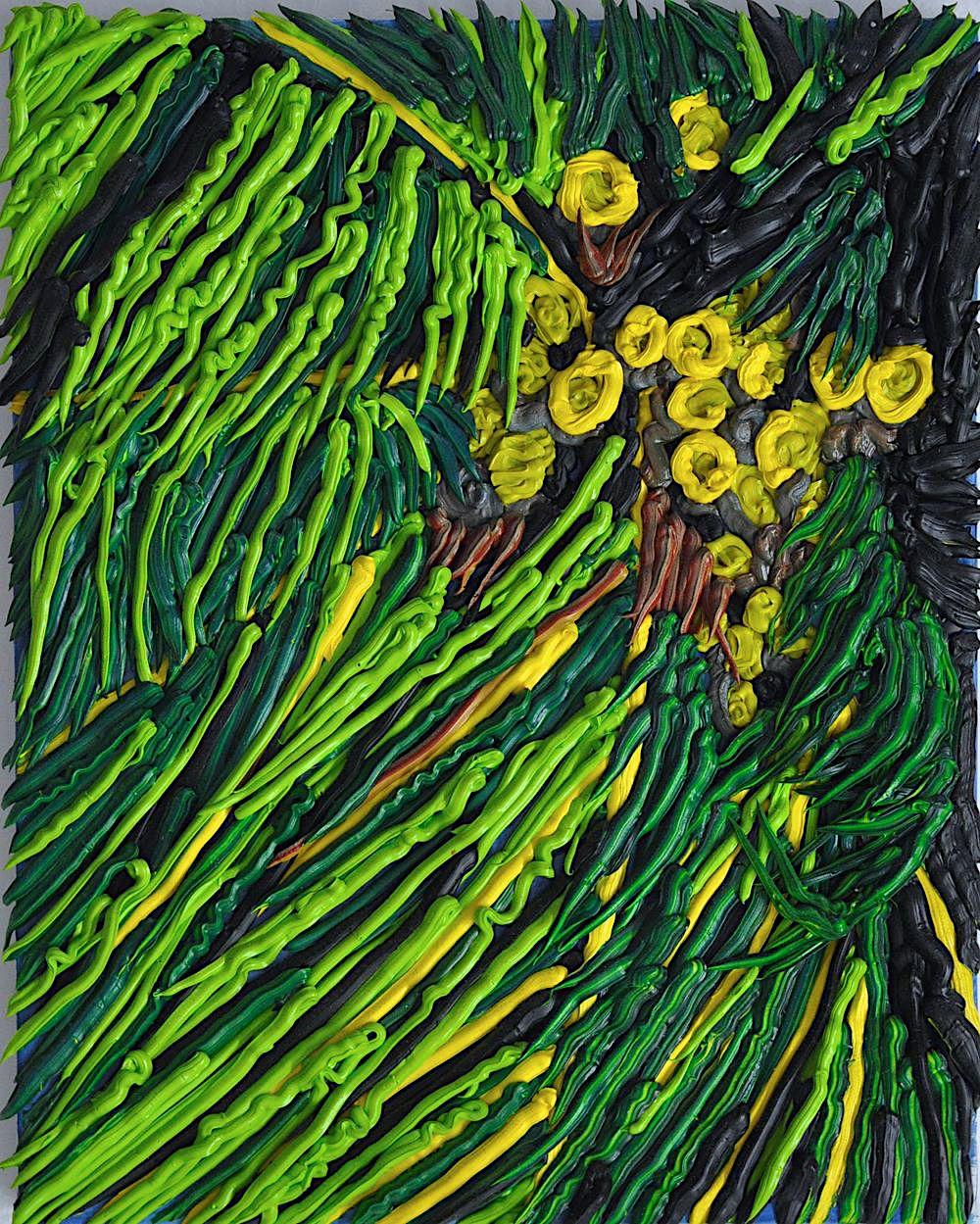 a Caroline Larsen painting of lush green and yellow vegetation