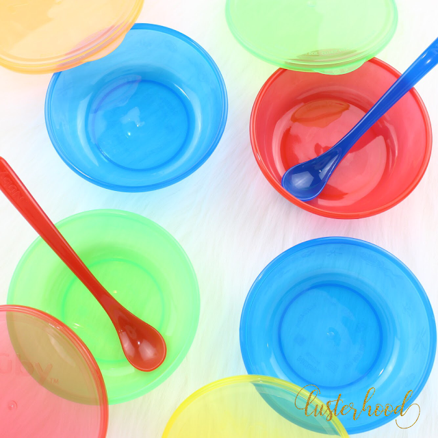 Nuby Stackable Bowls with Locking Lids  |  Lusterhood