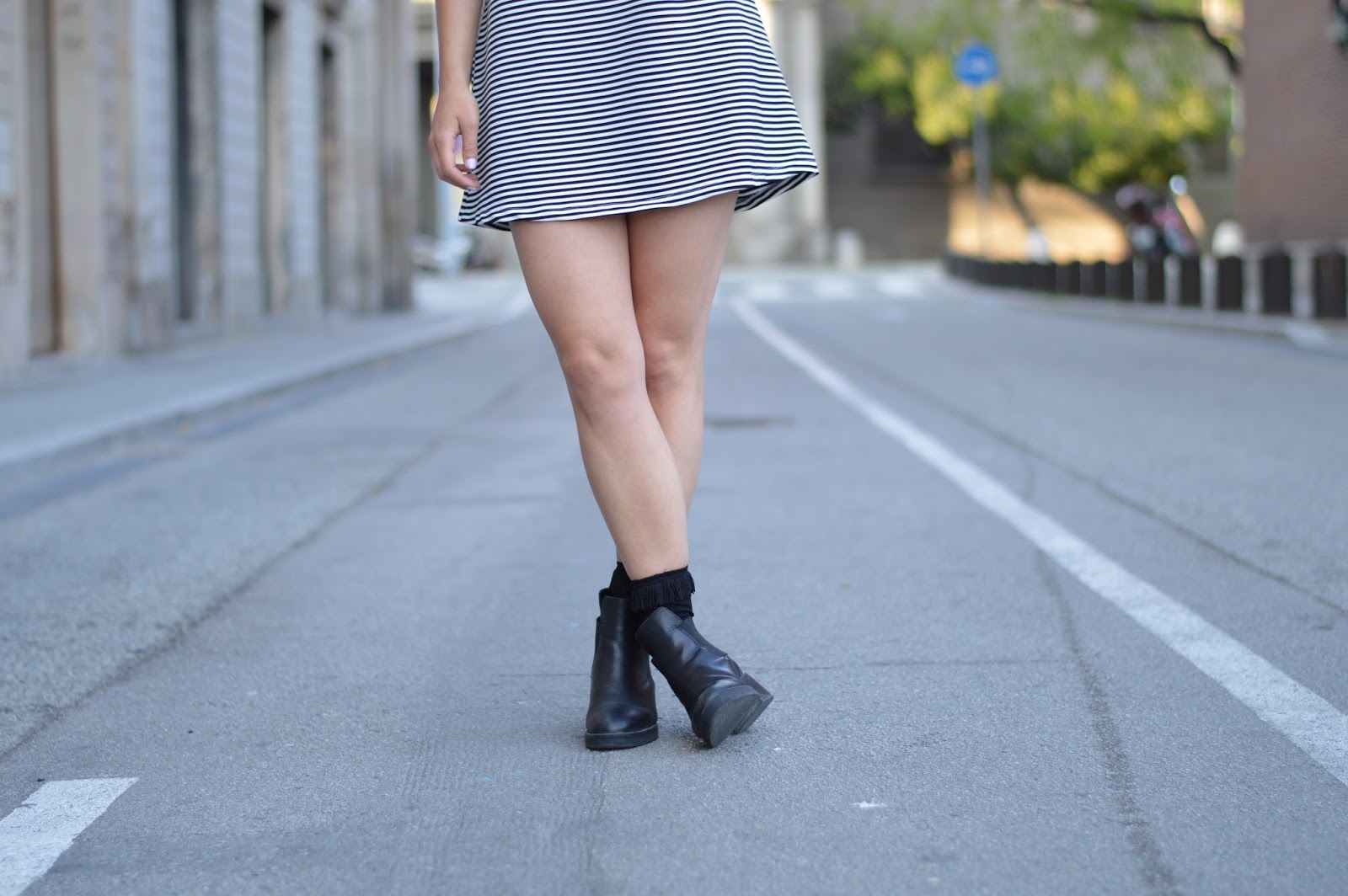 Zara striped stripes sixties A-line mini dress