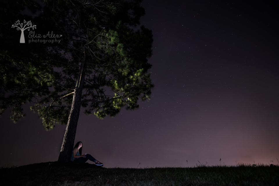night sky senior photography the woodlands